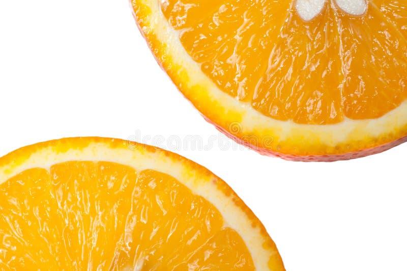 Corte a laranja no fundo branco fotos de stock royalty free