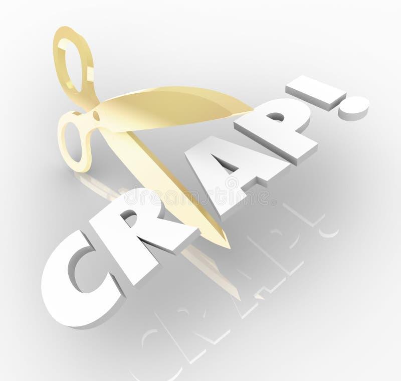 Corte las letras de las tijeras 3d de la mierda que la palabra reduce la ineficacia mala ha stock de ilustración