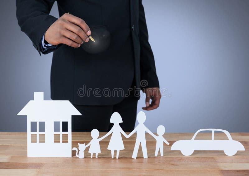 Corte las salidas de la familia y del coche caseros con el modelo stock de ilustración