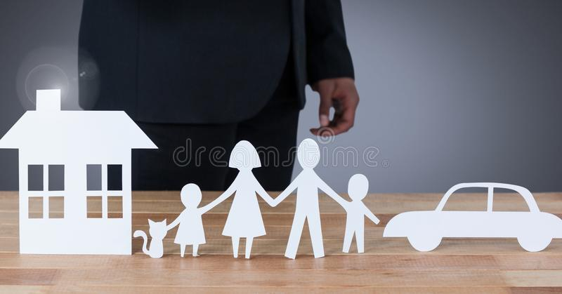 Corte las salidas del domicilio familiar y del coche con el modelo libre illustration