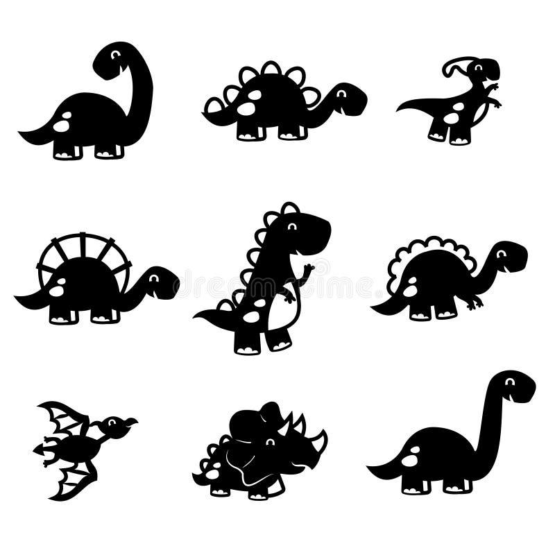 Corte lindo del papel del sistema del dinosaurio de la diversión stock de ilustración