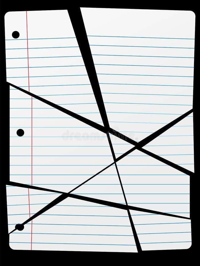 Corte los pedazos para arriba gobernados rasgados del papel del cuaderno stock de ilustración