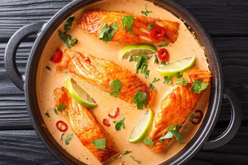 Corte los salmones en salsa tailandesa picante del coco con la cal y el primer de las hierbas en una cacerola visi?n superior hor fotografía de archivo