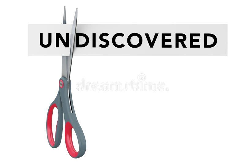 Corte não descoberto ao sinal de papel descoberto com tesouras 3d ilustração stock
