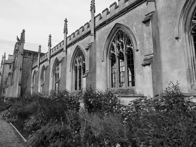 Corte nova da faculdade de St John em Cambridge em preto e branco imagens de stock