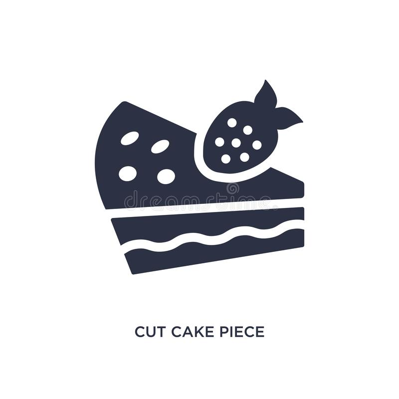 corte o ícone da parte do bolo no fundo branco Ilustração simples do elemento do conceito dos restaurantes e do restaurante ilustração do vetor
