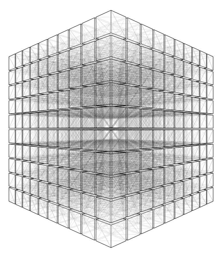 Corte o cubo com linhas escondidas vetor ilustração stock