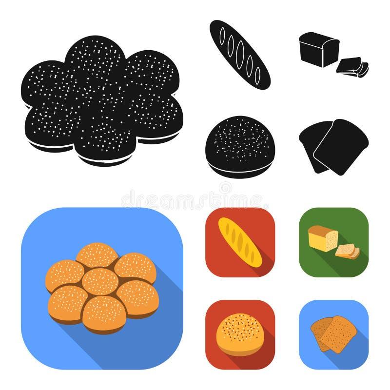 Corte o naco, rolo de pão com pó, metade do pão, cozendo Ícones ajustados da coleção do pão no símbolo preto, liso do vetor do es ilustração stock