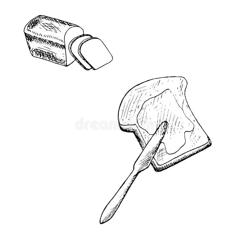 Corte o pão, o brinde com manteiga e a faca Cubra a ilustração monocromática tirada mão do vetor do estoque do esboço ilustração do vetor