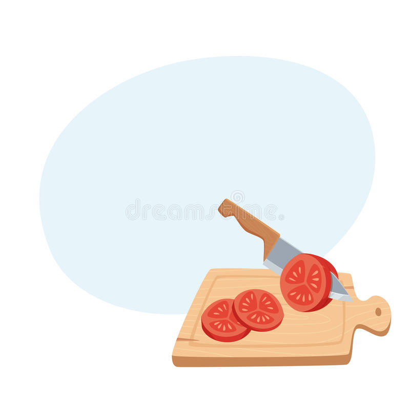 Corte o tomate com uma faca ilustração do vetor