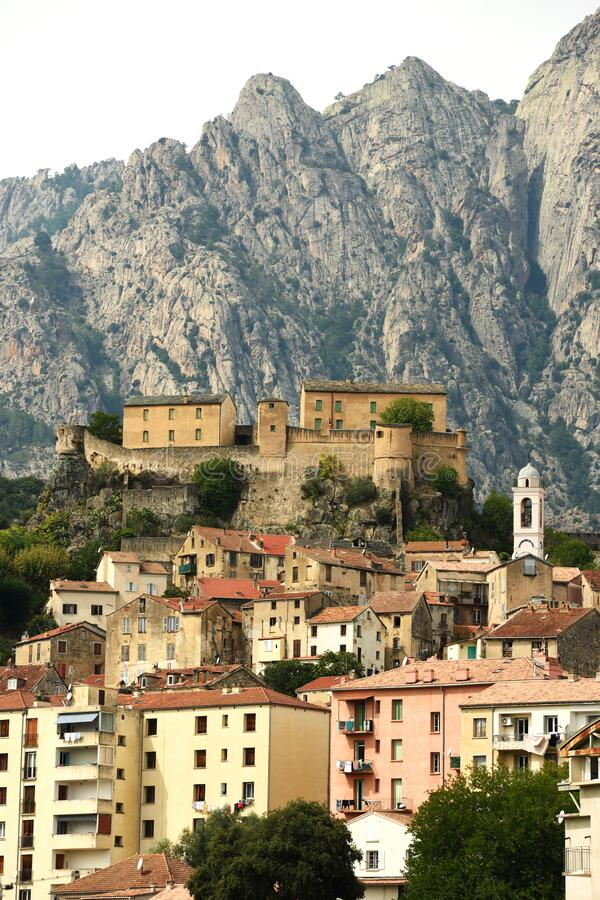 Corte Old Town, Corse, France stock photography