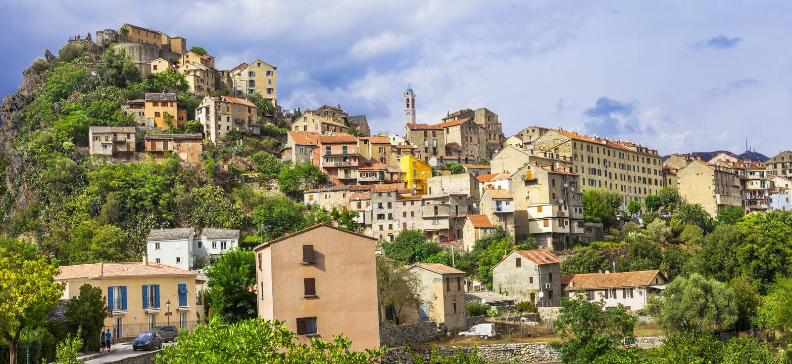 Corte - panoramic view.Corsica. Corte - impressive medieval town in Corsica, view with citadel stock images