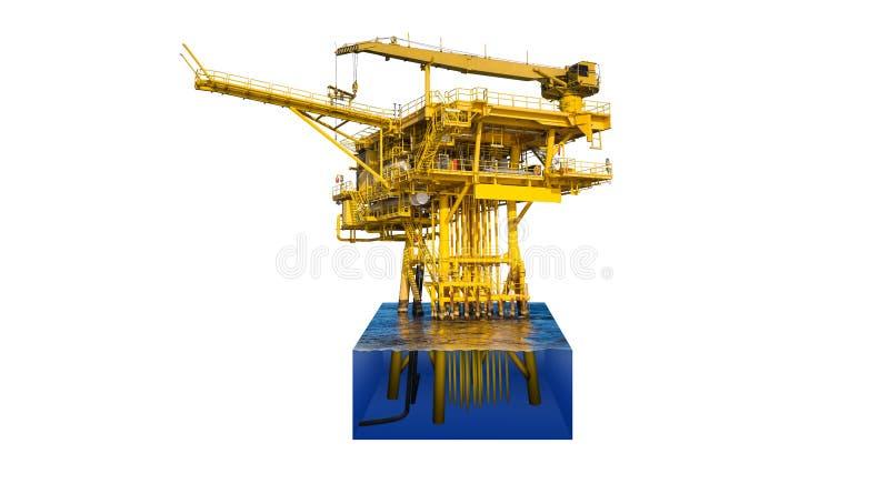 Corte para mostrar el detalle debajo del agua de la plataforma costera del telecontrol del manantial del petróleo y gas fotografía de archivo libre de regalías