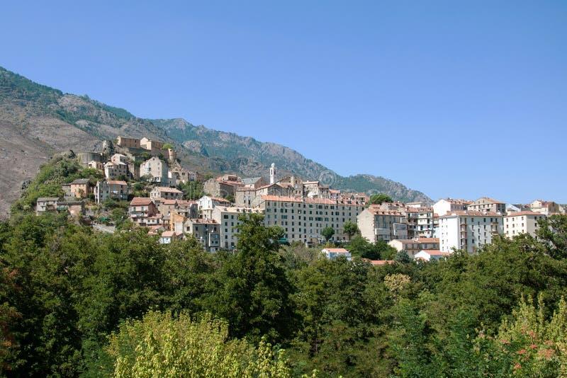 Corte - piękny średniowieczny miasteczko w Corsica fotografia stock