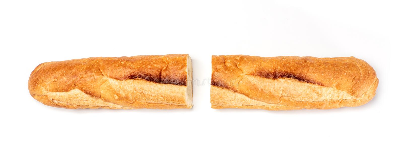 Corte por la mitad, pan del Baguette, pan francés, baguette orgánico del Baguette francese en el fondo blanco fotografía de archivo