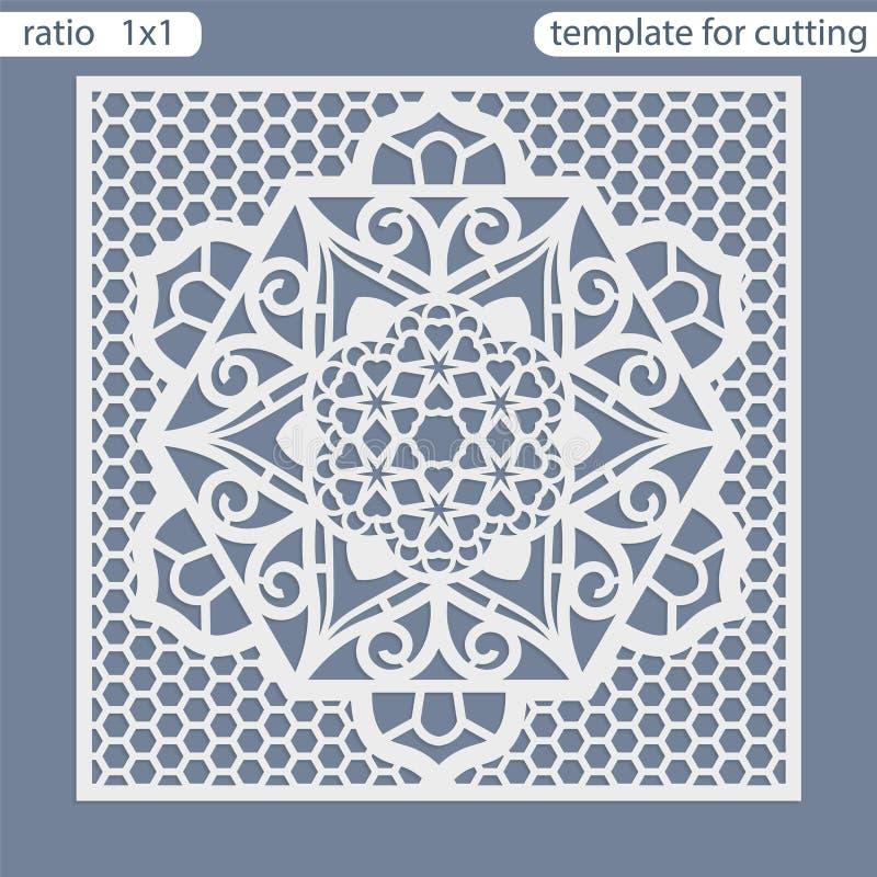 Corte quadrado do laser dos cartões do molde Apropriado para convites do casamento ilustração stock
