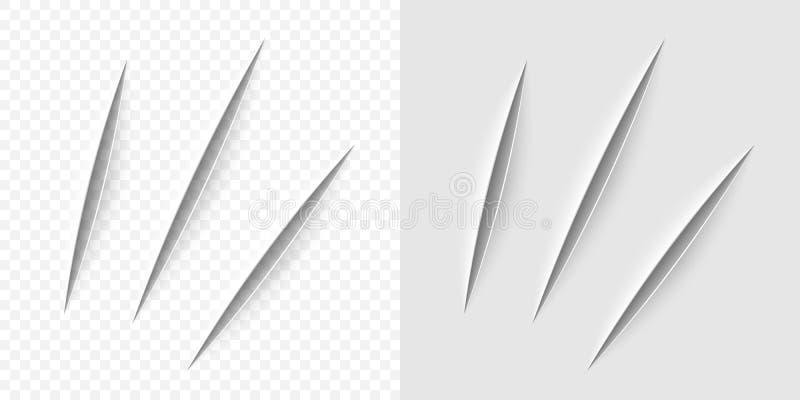 Corte realista del vector con un cuchillo de la oficina ilustración del vector