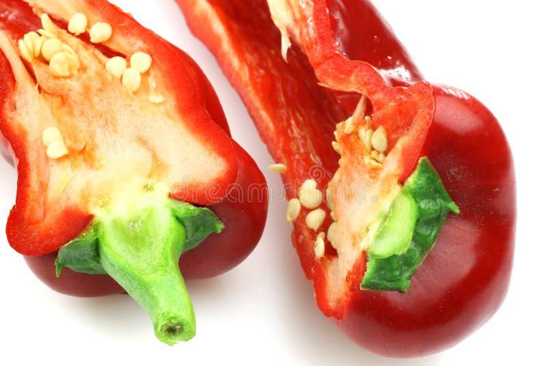 Corte recentemente pimentas doces vermelhas fotografia de stock