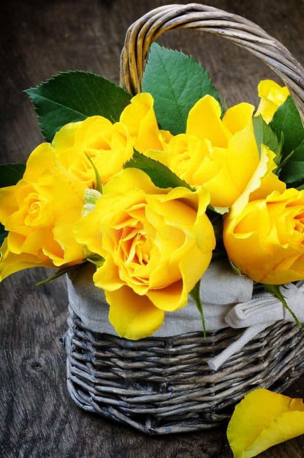 Corte recientemente las rosas amarillas imagen de archivo