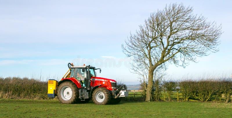 Corte rojo moderno del seto del tractor imagen de archivo libre de regalías