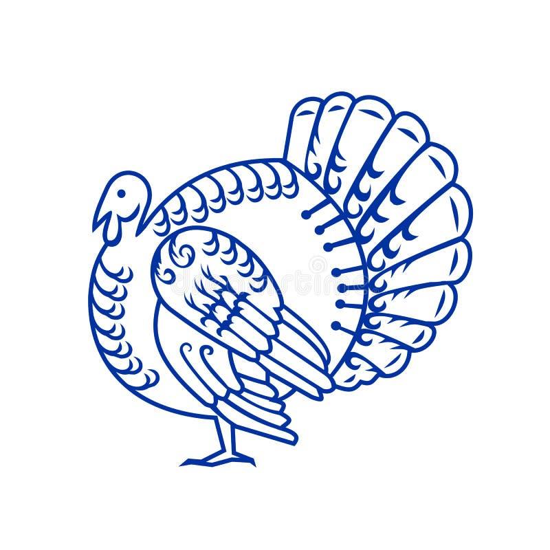 Corte selvagem do papel do lado de Turquia ilustração stock