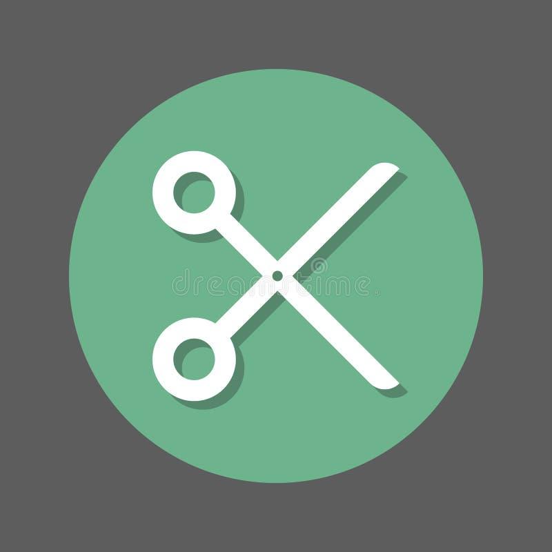 Corte, tesouras, ícone liso do barbeiro Botão colorido redondo, sinal circular do vetor com efeito de sombra Projeto liso do esti ilustração stock