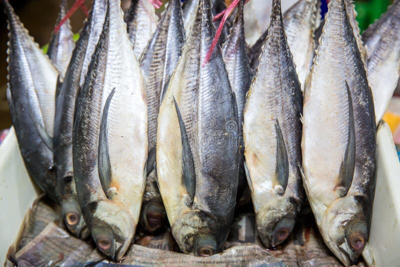 Corte tradicional do bacalhau salgado em uma placa de madeira Peixes salgados, tais como arenques kippered ou o bacalhau secado e foto de stock