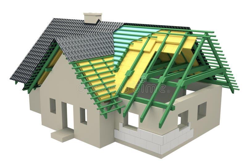 Corte transversal con el hogar del aislamiento stock de ilustración