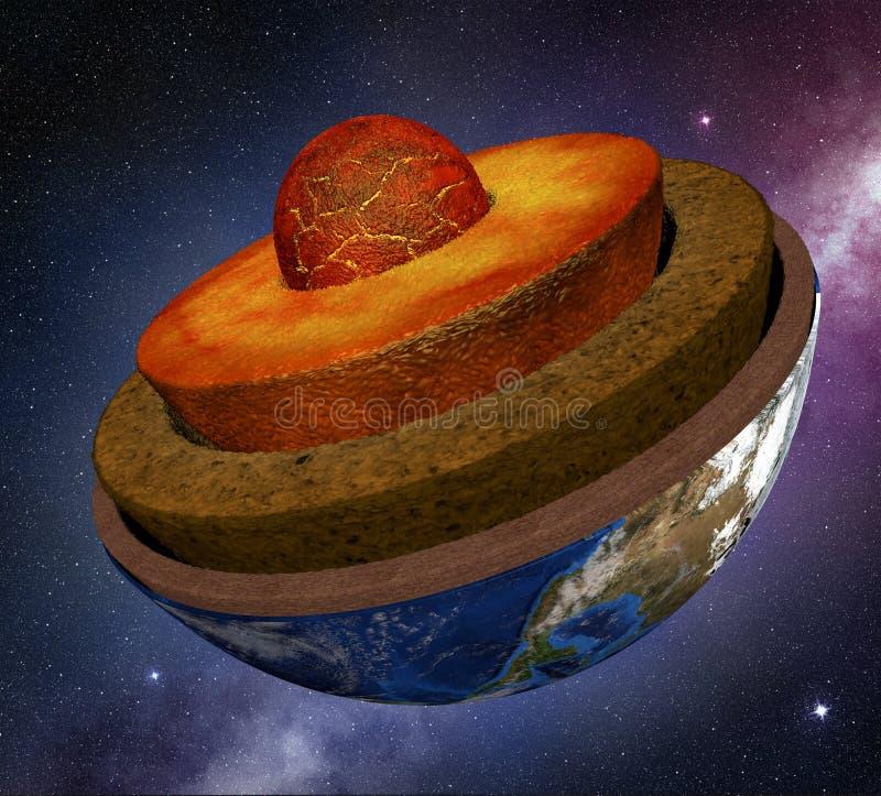 Corte transversal de la tierra en el espacio ilustración del vector