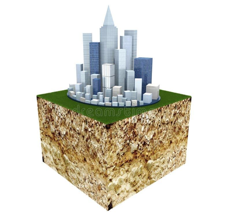 Corte transversal de tierra con la ciudad moderna del negocio stock de ilustración