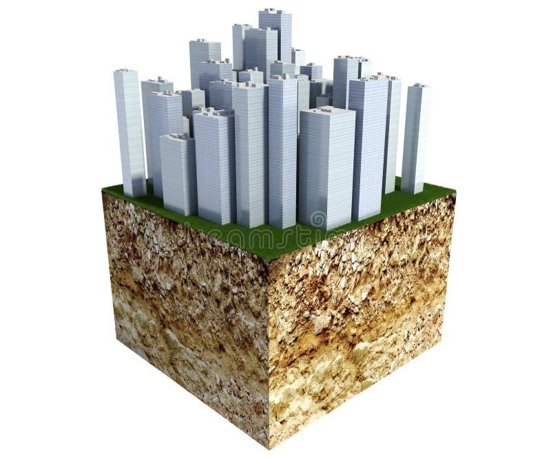 Corte transversal de tierra con la ciudad moderna del negocio aislada en blanco ilustración del vector