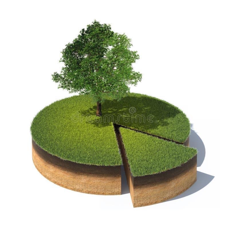 Corte transversal de tierra con la hierba y el árbol fotos de archivo
