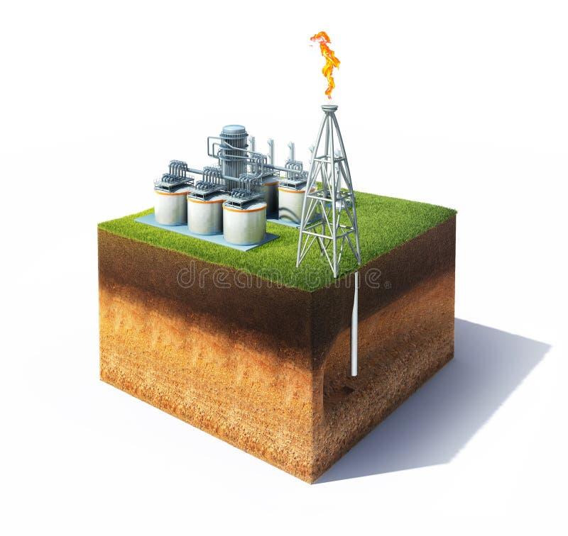 Corte transversal de tierra con la refinería de la hierba y del aceite o del gas stock de ilustración