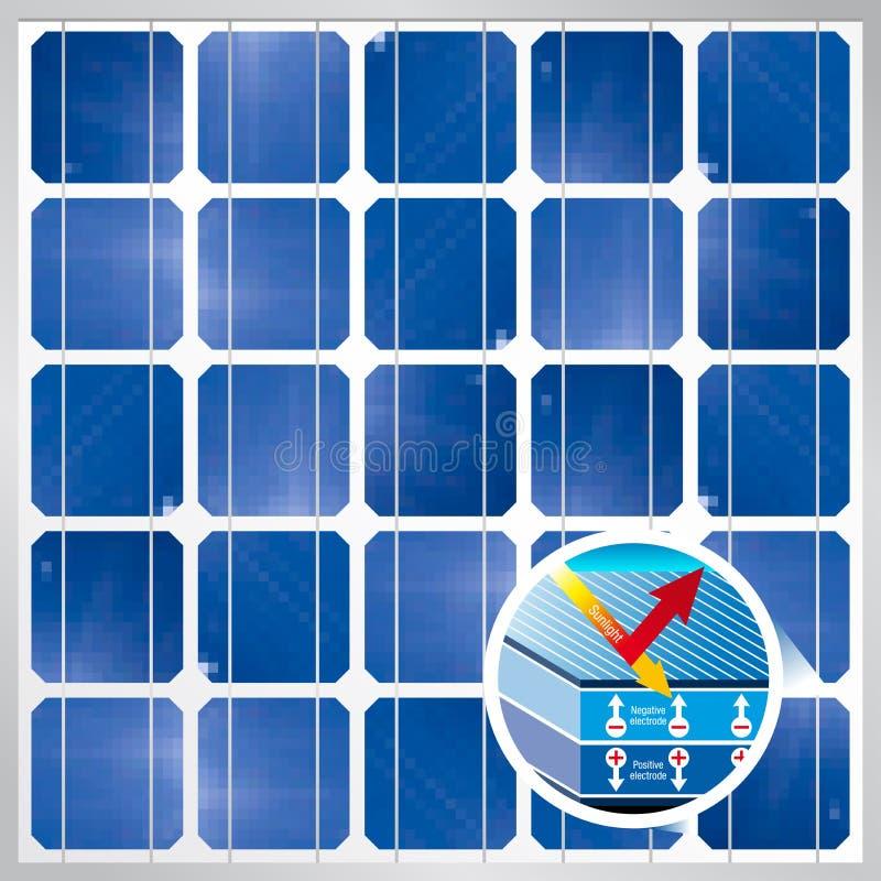 Corte transversal de una célula solar en el fondo fotovoltaico del módulo del panel solar - energía renovable libre illustration