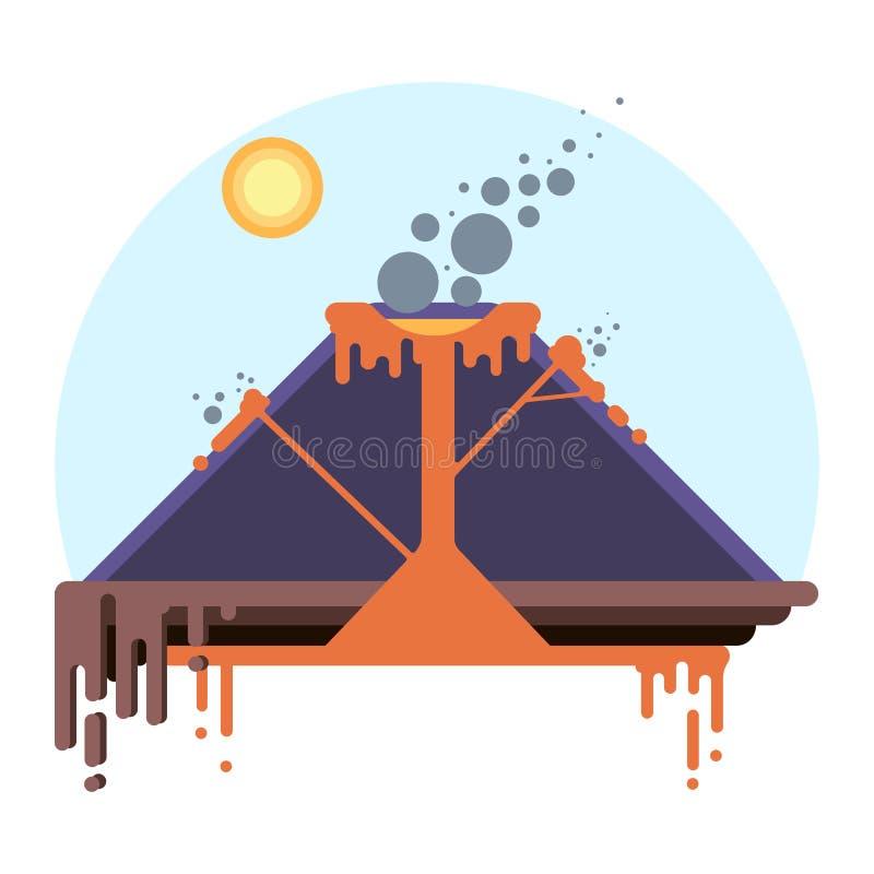 Corte transversal del volcán Esquema de la erupción en infographic stock de ilustración