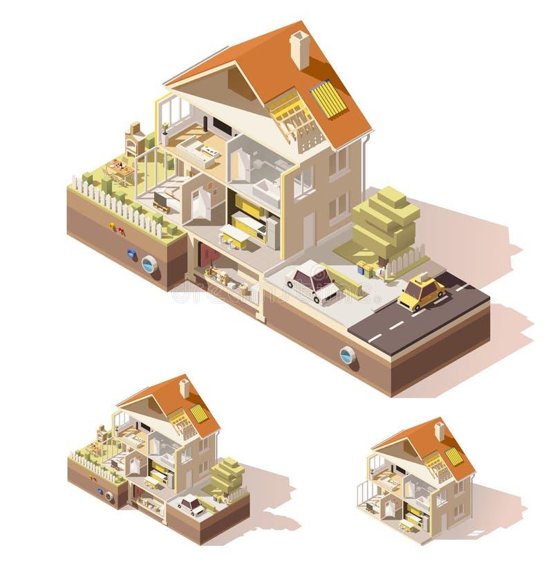 Corte transversal polivinílico bajo isométrico de la casa del vector libre illustration