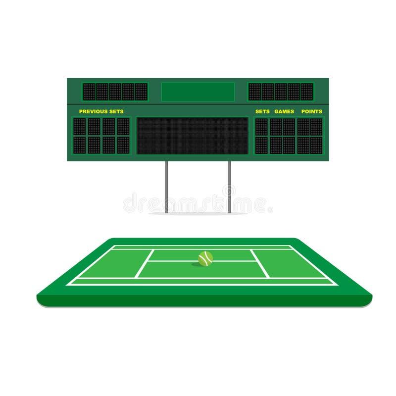 Corte verde di tennis con il tabellone segnapunti illustrazione vettoriale