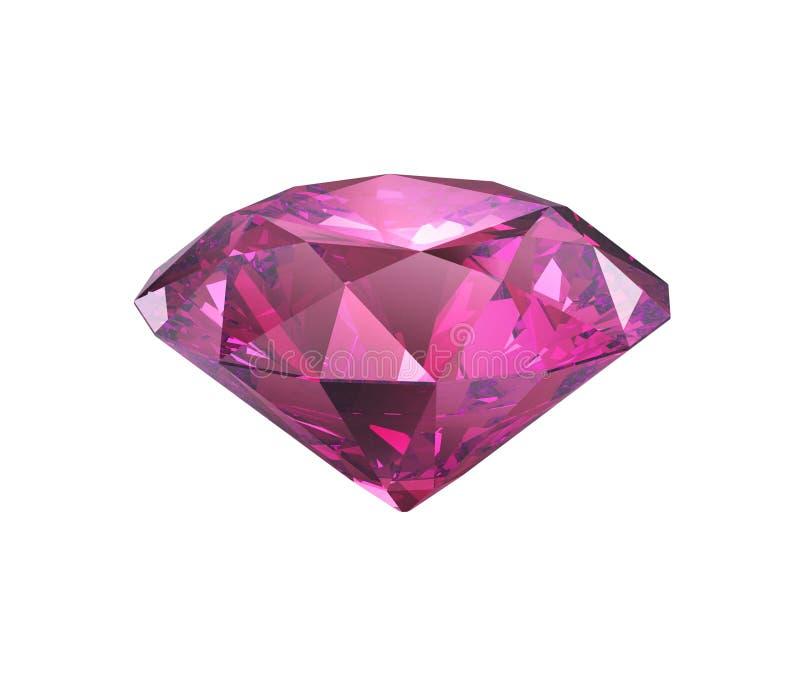 Corte violeta rosado del diamante aislado stock de ilustración