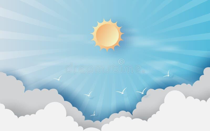 Corte y arte de papel del fondo con las nubes en el cielo azul Paisaje para la luz del sol en cloudscape Concepto caliente de la  stock de ilustración