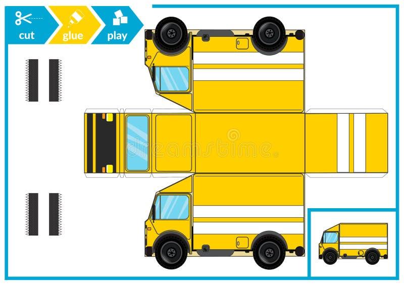 Corte y pegamento un coche de papel Juego del arte de los niños para la página de la actividad Pista de papel 3d Ilustración del  ilustración del vector