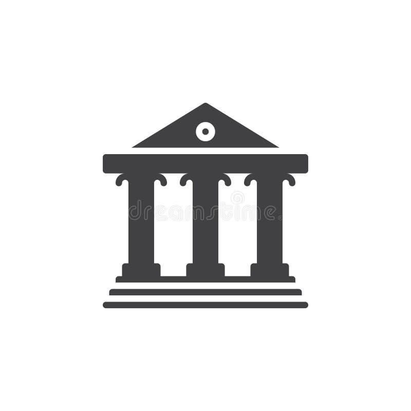 Corteje el vector del icono del edificio, muestra plana llenada, pictograma sólido aislado en blanco stock de ilustración