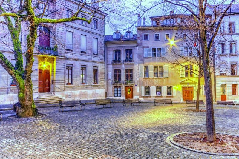 Corteje o Saint Pierre na cidade velha, Genebra, imagens de stock royalty free
