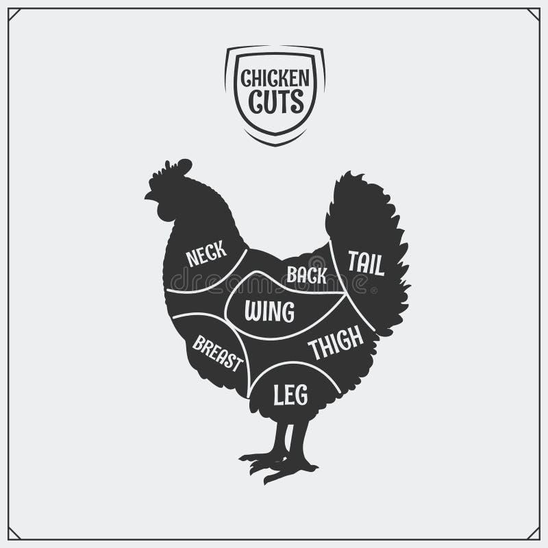 Cortes da carne da galinha Silhueta da galinha Etiqueta da galinha ilustração royalty free