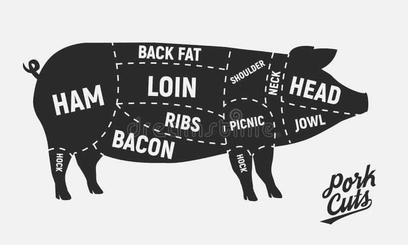 Cortes da carne Cortes de carne de porco Cartaz do vintage para o açougue Diagrama retro Ilustração do vetor ilustração do vetor