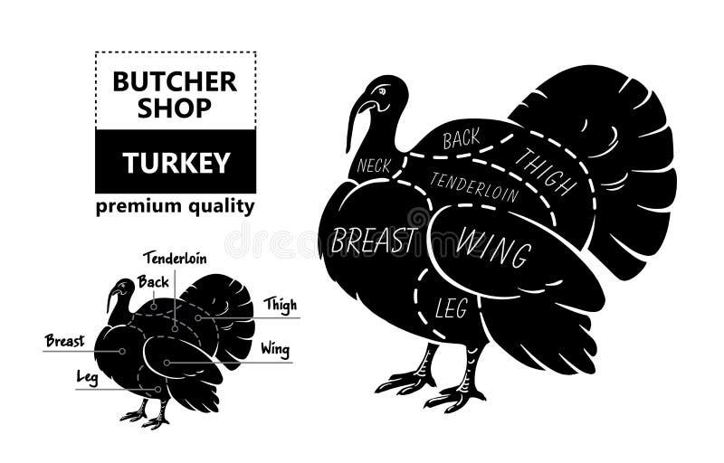 Cortes da carne Diagrama do carniceiro do cartaz e esquema - Turquia Tipográfico preto e branco desenhado à mão do vintage com te ilustração royalty free