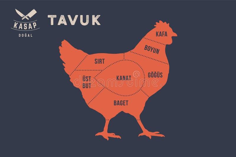 Cortes da carne Diagrama do carniceiro do cartaz - Tavuk ilustração royalty free