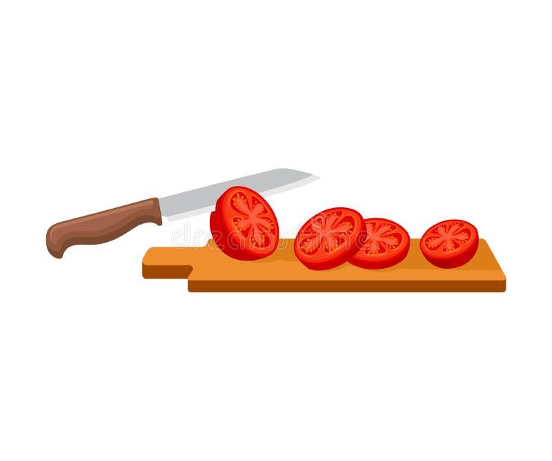 Cortes da faca um tomate Ilustra??o do vetor em um fundo branco ilustração do vetor