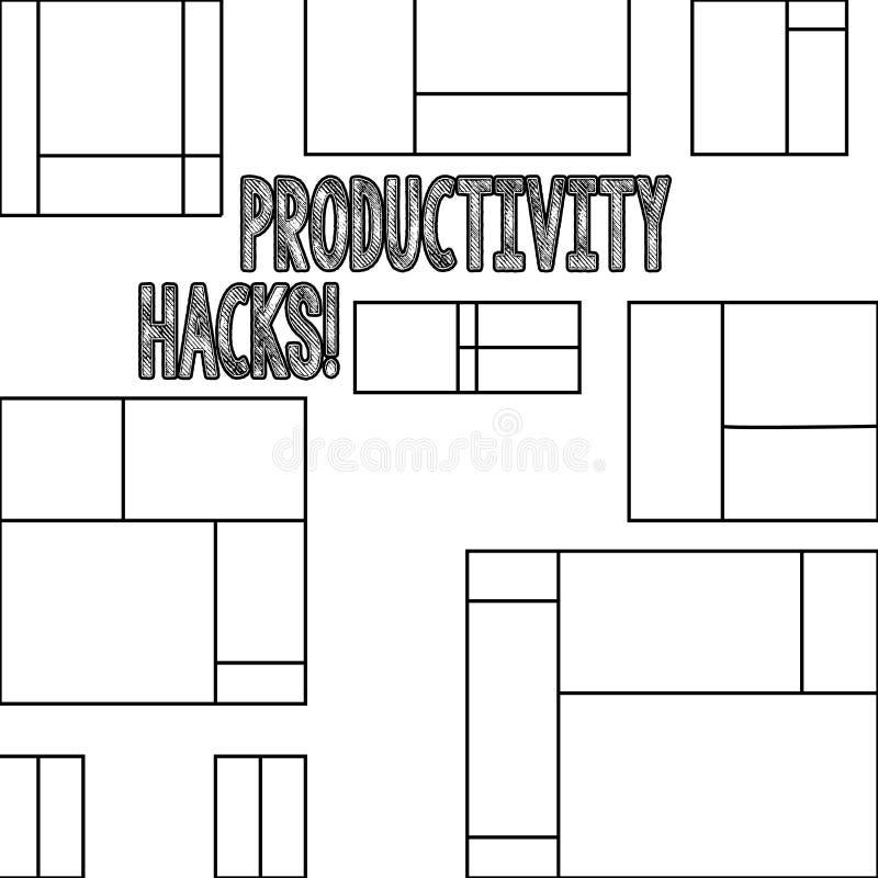 Cortes da produtividade do texto da escrita O significado do conceito que corta o método da solução derruba a produtividade da ef ilustração stock