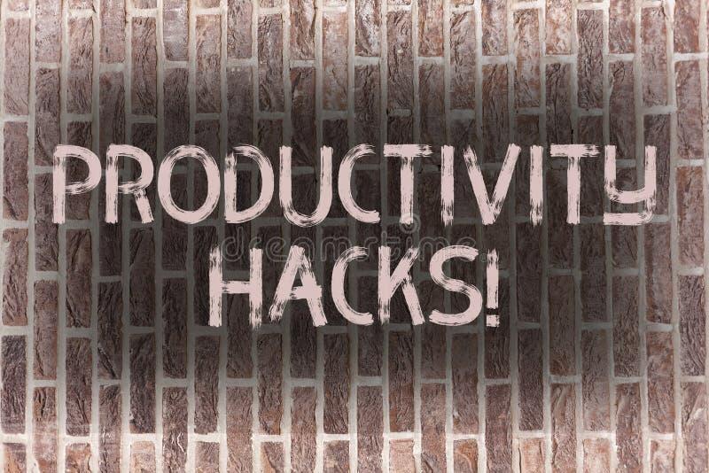 Cortes da produtividade do texto da escrita da palavra Conceito do negócio para cortar o tijolo da produtividade da eficiência da ilustração do vetor