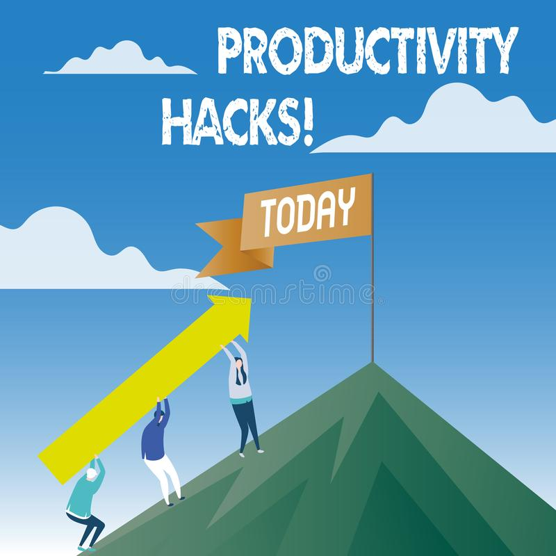 Cortes da produtividade do texto da escrita da palavra O conceito do negócio para cortar o método da solução derruba a produtivid ilustração stock
